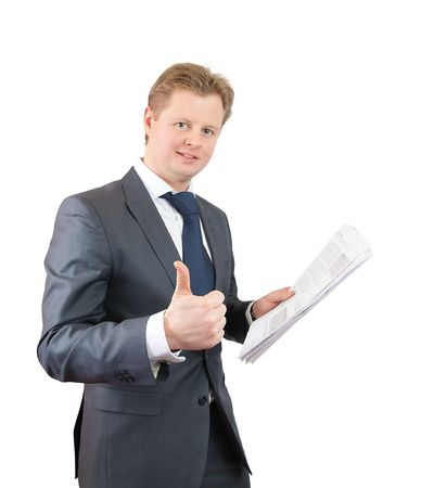businessman with thumb up. Isolated on white photo