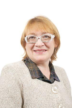 Retrato de mujer senior en copas. Aislados sobre blanco  Foto de archivo - 6133121