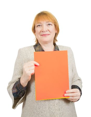 smiling senior woman holding on empty red poster. Isolated over white photo