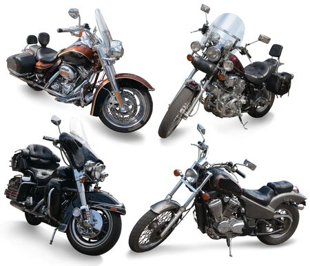 Set of large motor cycles. Isolated over white