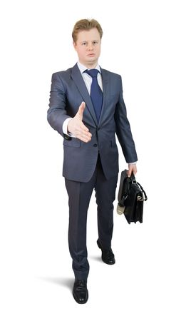 going  businessman offering a handshake over white photo