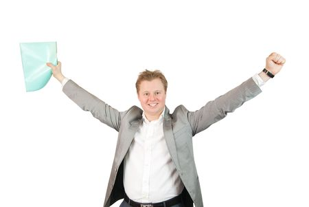 Happy businessman with documents. Isolated on white photo