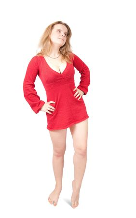 velure: Standing girl in red short dress. Isolated on white Stock Photo