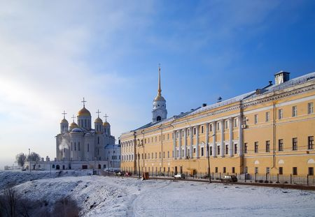 Assumption cathedral in winter at Vladimir. Russia photo