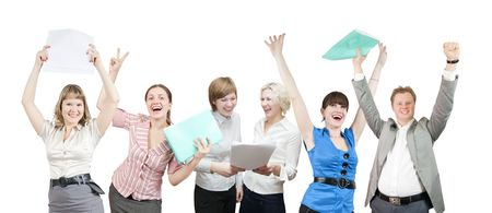 Few businesspeople is joy. Happy business team over white background photo
