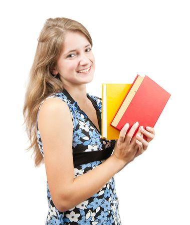 teener: Long-haired schoolgirl with books, isolated over white Stock Photo