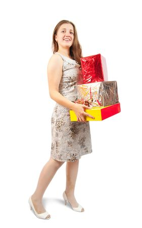 Sexy brunette woman standing with coloured festive boxes Stock Photo - 6314099