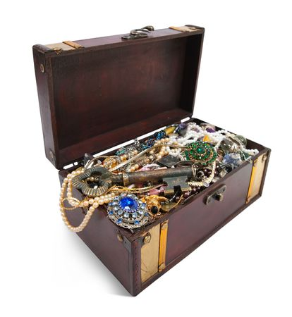wooden treasure chest with valuables and key, isolated over white background Stock Photo - 6319052