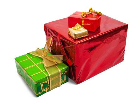 Few colored gift boxes on white background.  photo