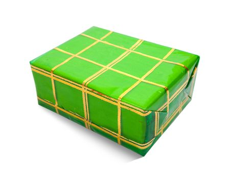 Green gift box on white background photo