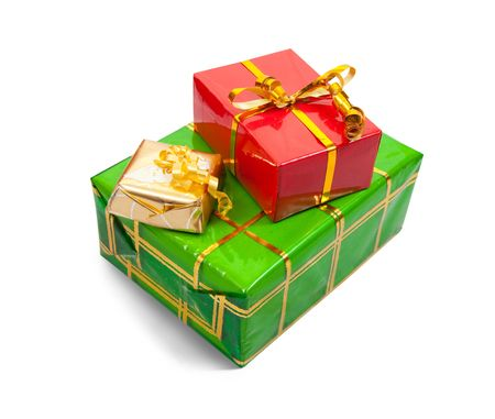 Few colored present boxes on white background.  photo