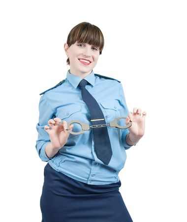 snitches: woman in uniform with manacles, isolated over white Stock Photo
