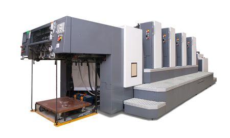 offsetdruck: vier-Abschnitt Versatz gedruckt Maschine. Lizenzfreie Bilder
