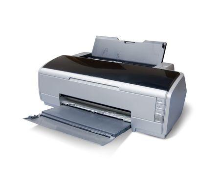 inkjet:  impresora de chorro de tinta. Aislados en blanco Foto de archivo