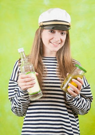 jack tar: Pretty female sailor with bottle of vodka Stock Photo