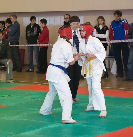 RUSSIA, VLADIMIR - NOVEMBER 7, 2009: National championship among juniors by kyokushin karate event november 7, 2009 in Vladimir, Russia. Fighters battle