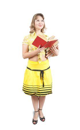 teener: Standing girl reading book, isolated over white Stock Photo