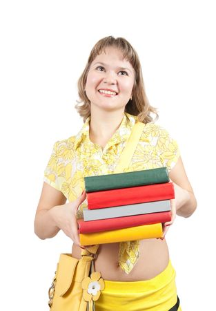 teener: Standing girl with books, isolated over white Stock Photo
