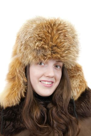 Portrait of long-haired young girl in  fox cap over white photo