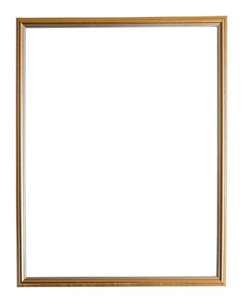 Modern thin gold picture frame, isolated Stock Photo - 6463511