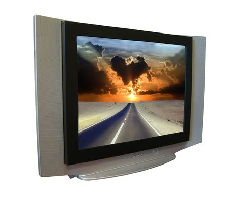 tv set with road through desert   during sunrise. Isolated on white background  photo