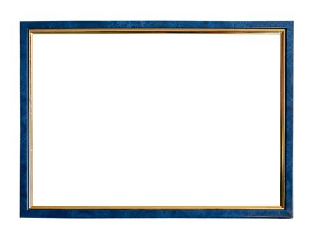 Modern thin blue picture frame, isolated  photo
