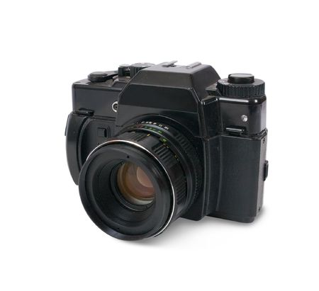 photocamera:  film photocamera. Isolated over white