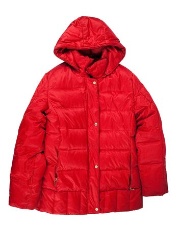 winter sales: Red winter jacket, isolated over white background  Stock Photo