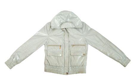 seasonable: Silver jacket, isolated over white background  Stock Photo