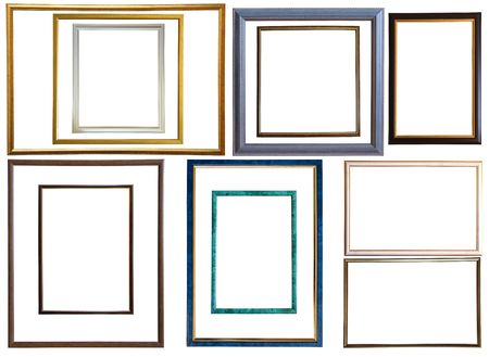 Set of  12 modern thin plastic picture frames, isolated photo
