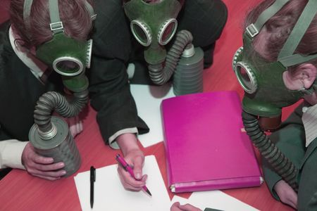 The girls in a gas mask at nterior photo