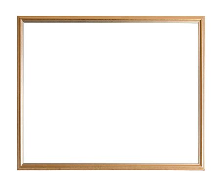 Modern thin gold picture frame, isolated photo