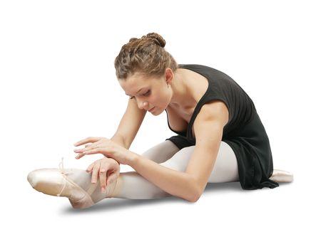 Young caucasian brunette ballerina girl on white background Stock Photo - 6498892