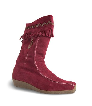 womanish: Red  deerskin womanish boot isolated