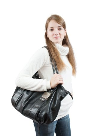 Long-haired teen girl in sweater with bag over white  photo