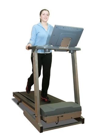Girl workout on treadmill. Isolated on white Stock Photo - 6499350
