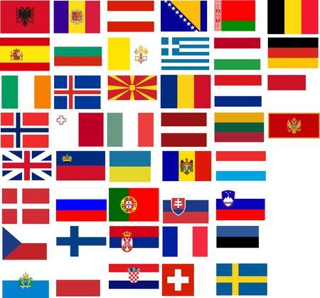 drapeau portugal: Drapeaux de tous les pays europ�ens. Illustration sur fond blanc