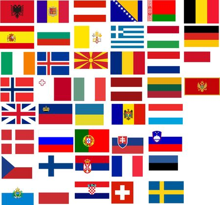 evropský: Flags of all European country. Illustration over white background Ilustrace