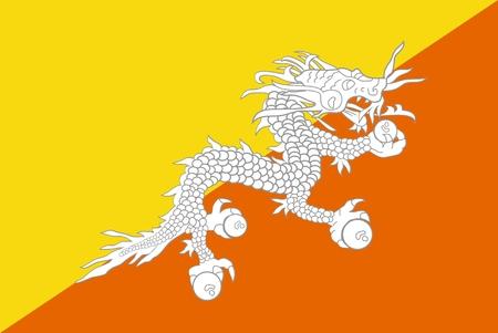 bhutan: De nationale vlag van Bhutan. Illustratie op witte achtergrond