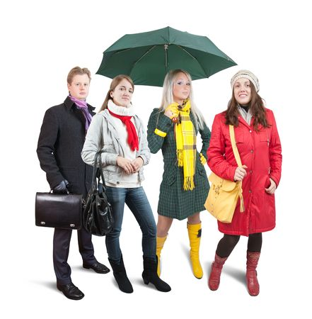 People  in wintry clothes with bag. Isolated  Stock Photo - 6558683