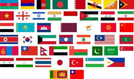 Flags of all Asian countries. Illustration over white background illustration