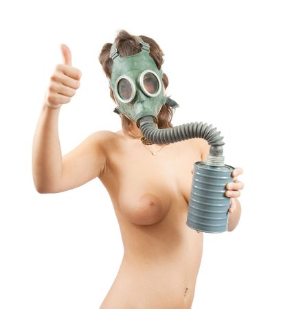 Portrait of topless girl in gas mask over white Stock Photo - 6620731