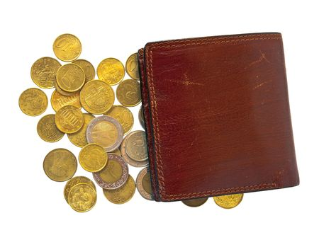 pochette: few  coins and wallet. Isolated over white