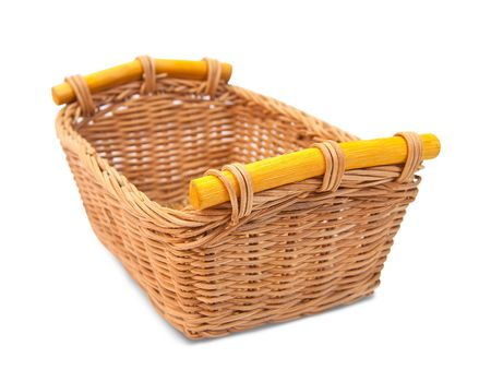 Empty wicker basket. Isolated over white photo