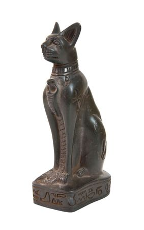 stone statue of  cat - egyptian souvenir. Isolated over white Stock Photo - 6647716