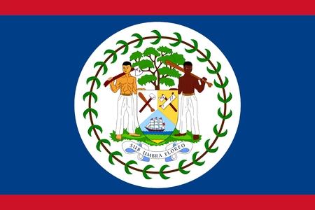 belize: Flag of Belize. Illustration over white background