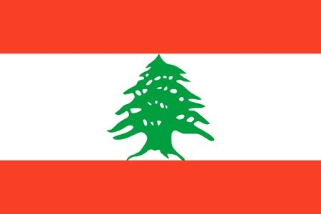 Bandera nacional de Líbano. Ilustración sobre fondo blanco