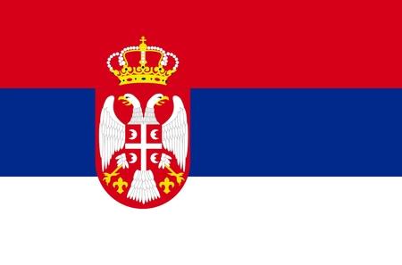 serbien: Serbien Nationalflagge. Abbildung auf wei�em Hintergrund
