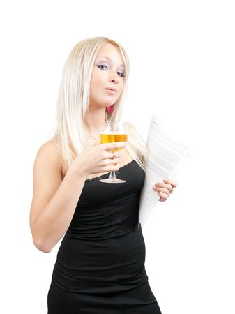 Blonde businesswoman with glass of wine and documents  on a white background  photo