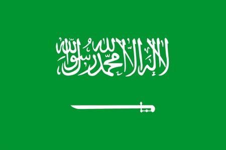 Drapeau de l'Arabie saoudite. Illustration sur fond blanc Vecteurs
